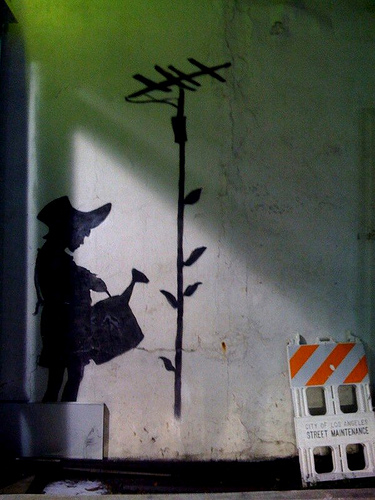 banksy watering can girl