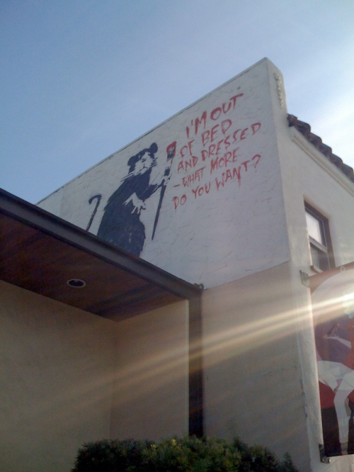 banksy, out of bed rat, los angeles